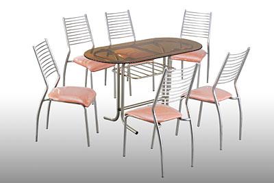 Bàn Inox mặt kiếng hình hột xoài và ghế dựa Inox cố định mặt nệm simili