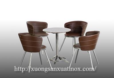 Bộ bàn ghế inox mặt đá
