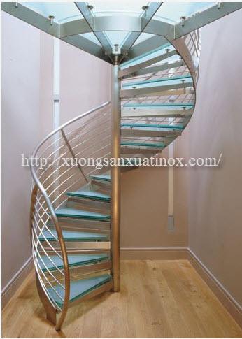 Cầu thang xoáy dẹp inox