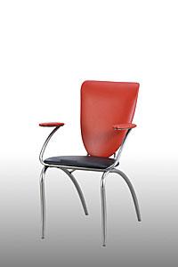 Ghế dựa inox cố định mặt nệm simili có tay