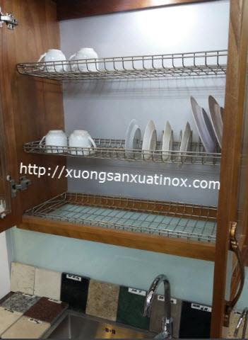 Giá inox úp bát đĩa cho tủ bếp
