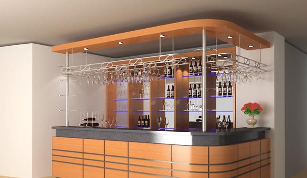 Giá treo ly quầy bar New