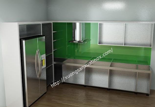 Mẫu tủ bếp inox chữ L