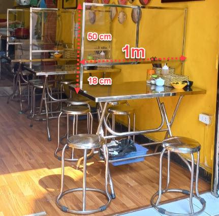 Tâm vách ngăn inox cho quán nhà hàng phòng chống covid