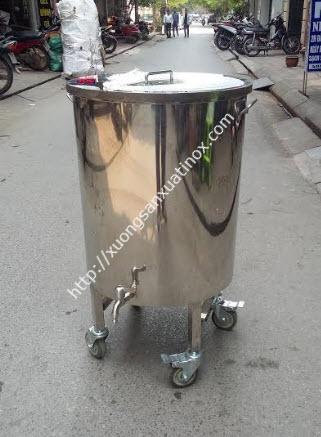 Thùng nước inox 304 co bánh xe